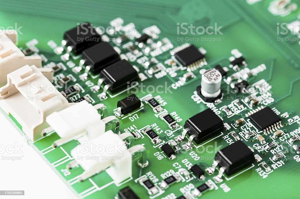 Electronic Board detail Close up of an highly integrated electronic board.More about Circuit Board Stock Photo