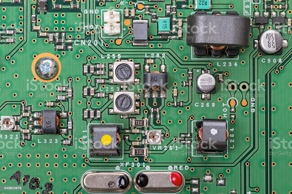 Electronic board with modern components stock photo