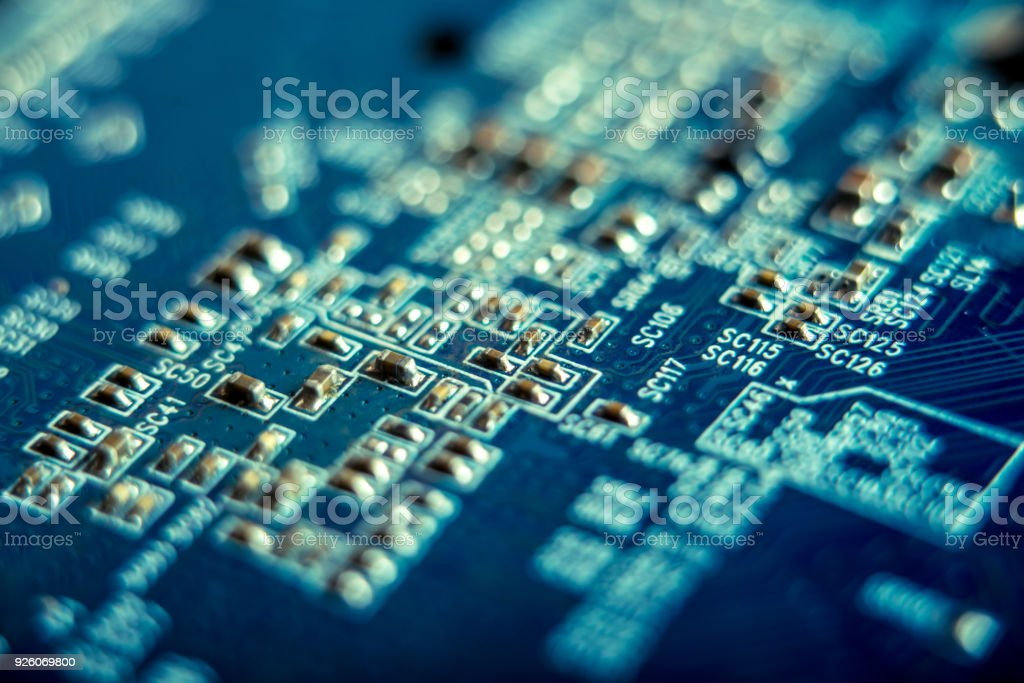 Electronic Board with semiconductor elements closeup. Concept of the technology of solid-state microelectronics stock photo