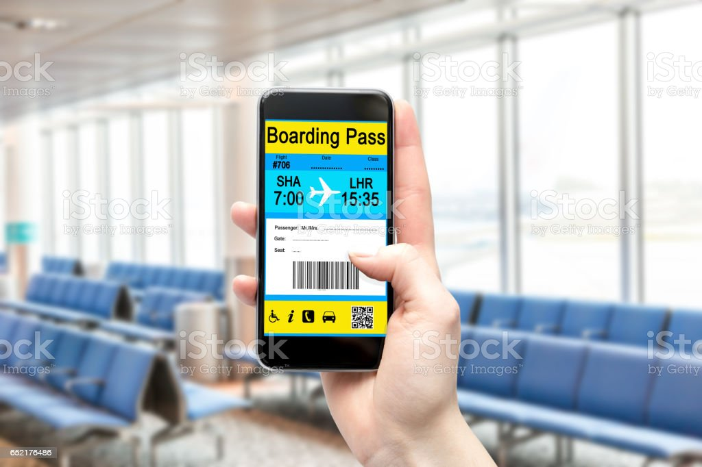 Electronic Boarding Pass on the screen of your smartphone. Concept of modern travel. stock photo