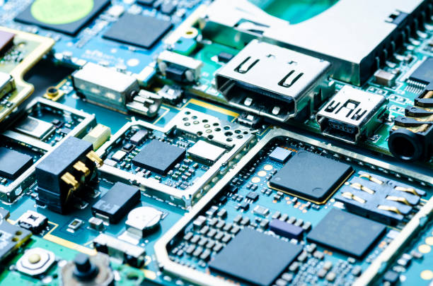 Electronic boards close-up with chips and electronic components