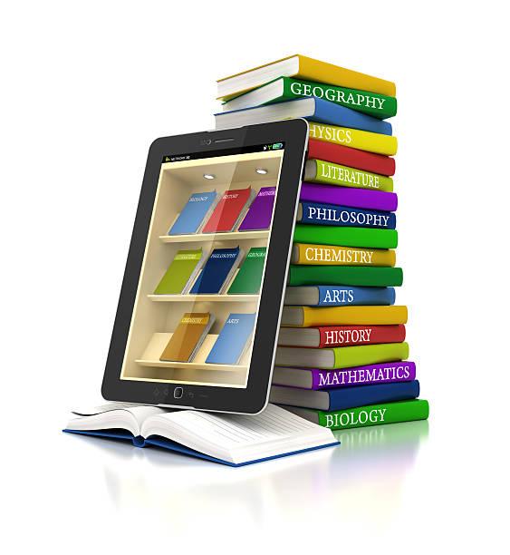 elektronische bücher-bibliothek in einem tablet arbeitet - pictafolio stock-fotos und bilder