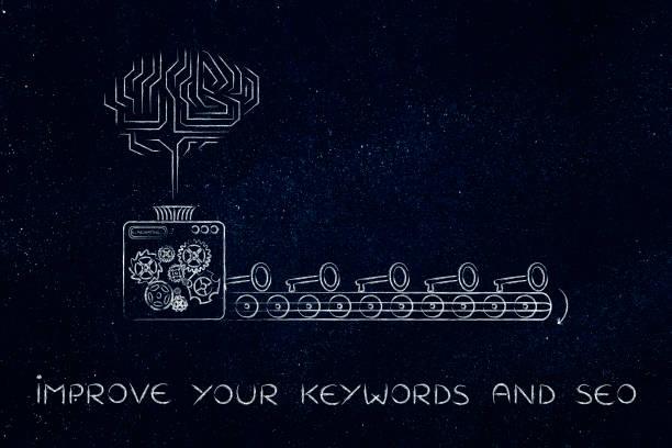 electronic brain and machine creating keys, keywords suggesting tools stock photo