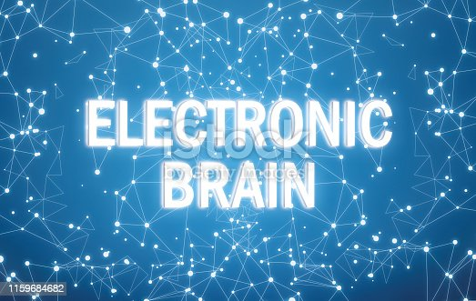 istock Electronic brain on digital interface and blue network background 1159684682