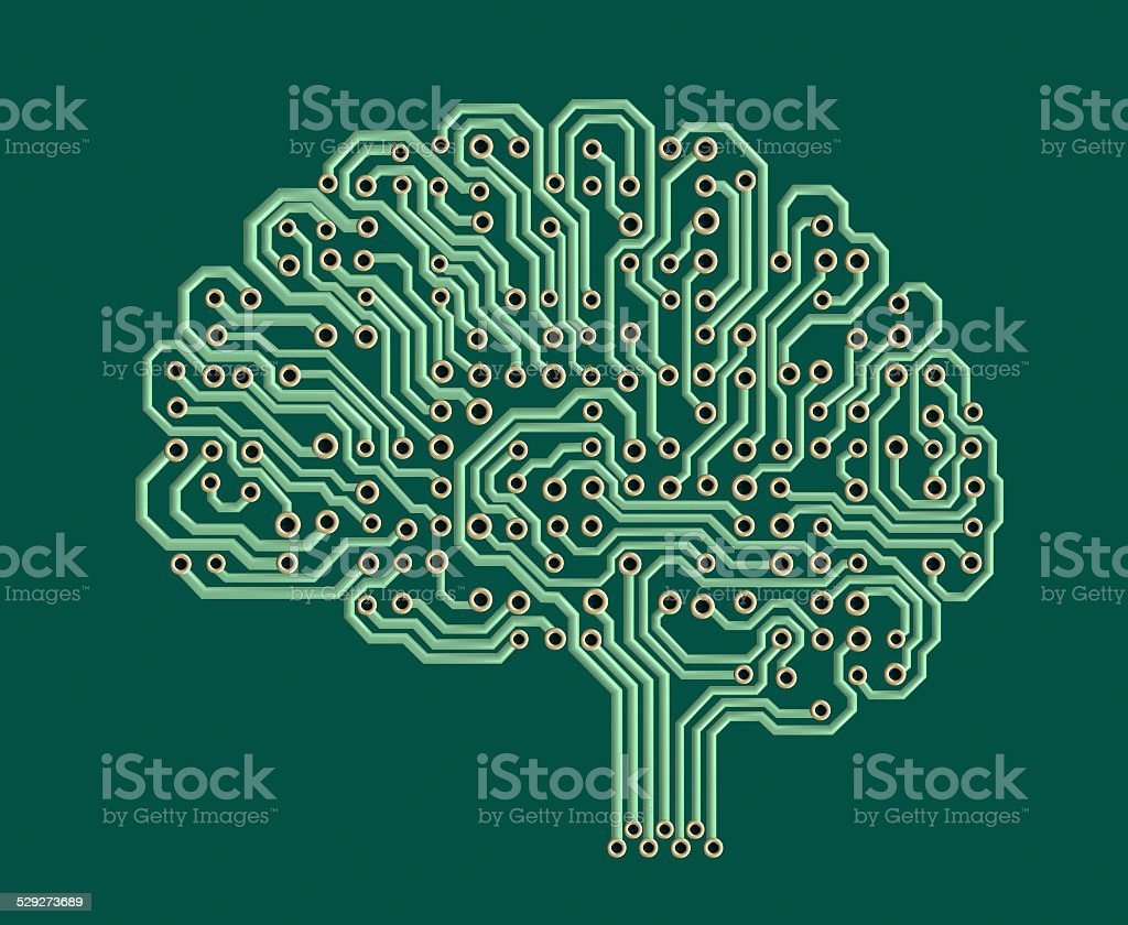Electronic brain stock photo