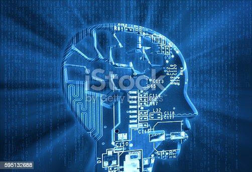 istock Electronic Brain with Circuit Board 595132688
