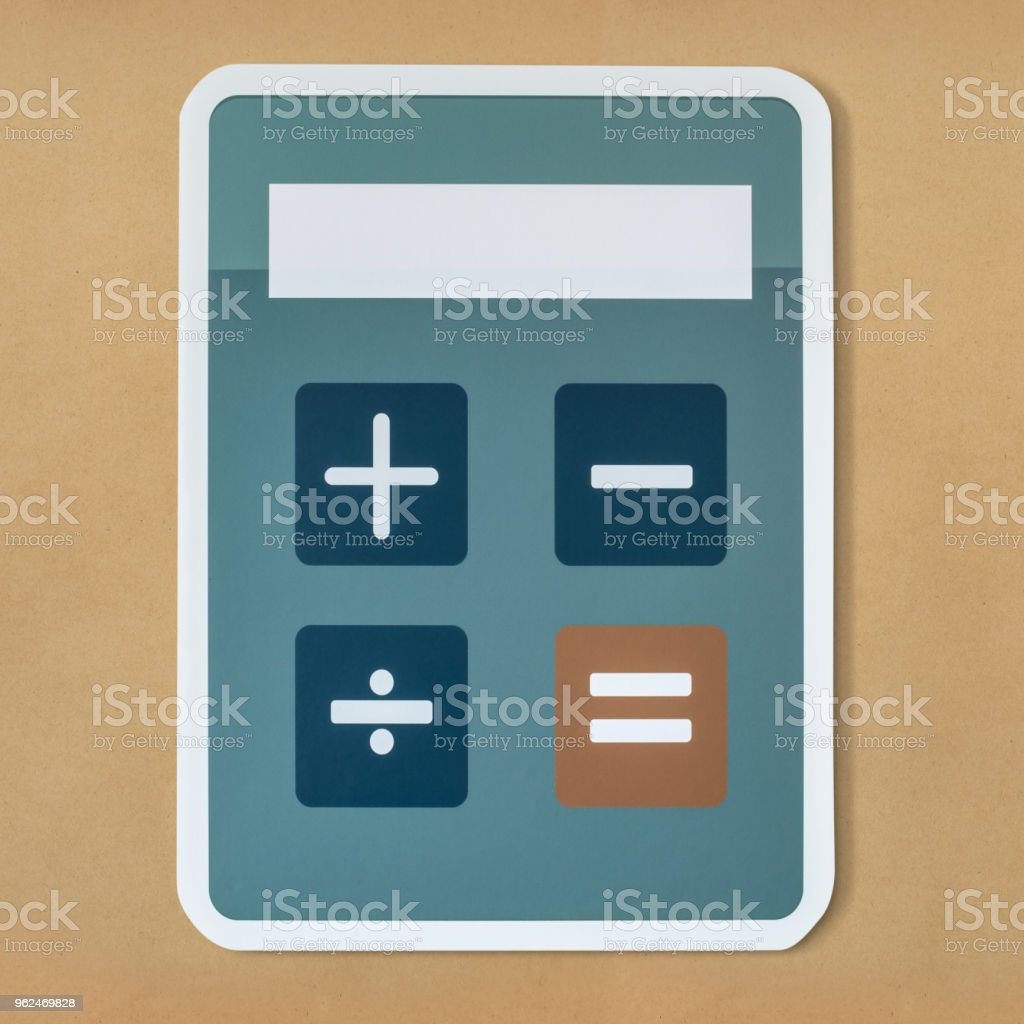 Electronic calculator with mathematical functions stock photo