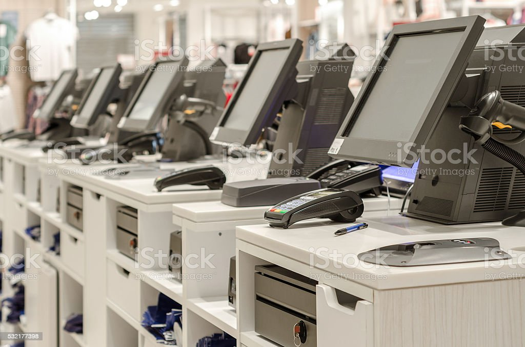 Electronic cash or cashier standing at the counter stock photo