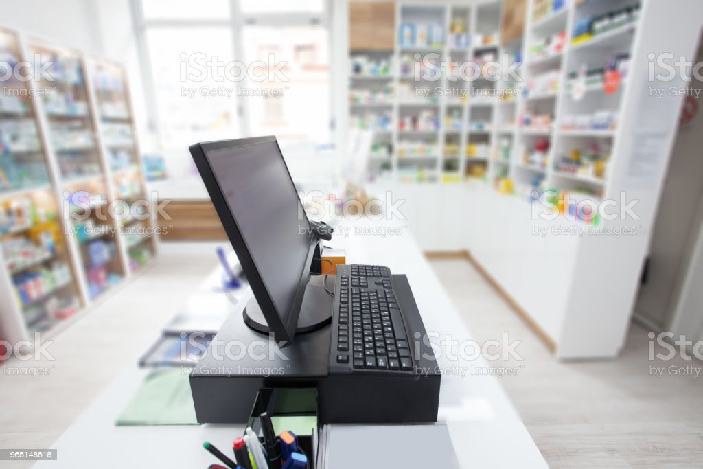 electronic cashier at shop royalty-free stock photo