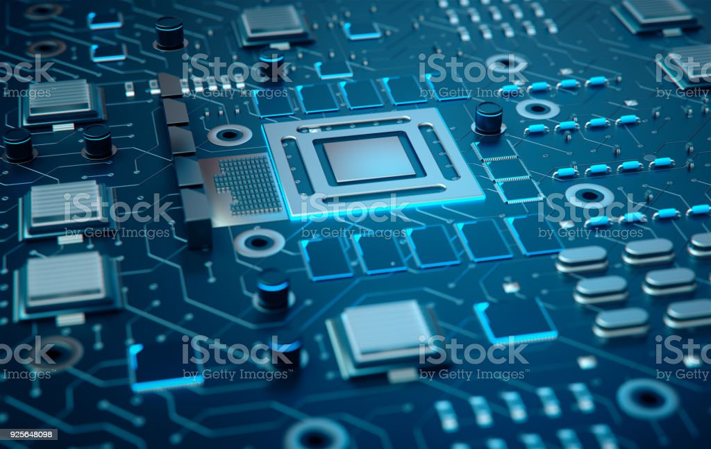 Electronic chip,3d rendering. stock photo