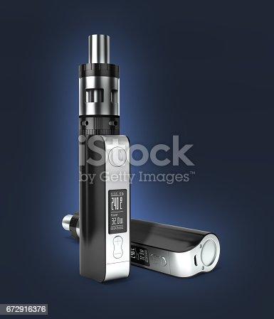 istock electronic cigarettе box mode on dark blue gradient background 3d 672916376