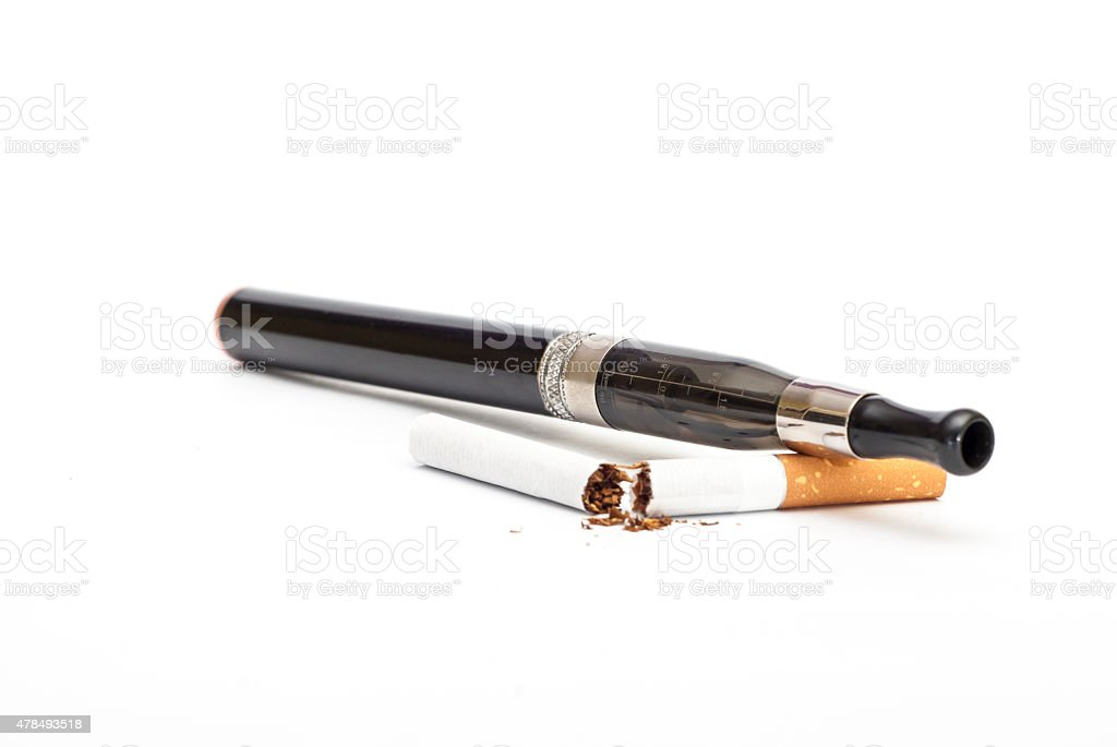 Electronic Cigarette and cigarette against white background stock photo