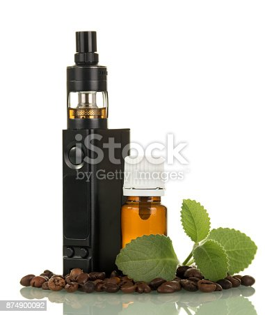 177005367 istock photo Electronic cigarette, the bottle with liquid, next to scattered grains of coffee isolated on white 874900092