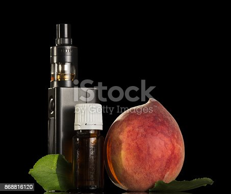177005367 istock photo Electronic cigarette with liquid peach isolated on black 868816120