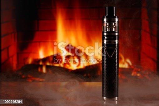 1137088939 istock photo electronic cigarette within vapor on fireplace background 1090546284