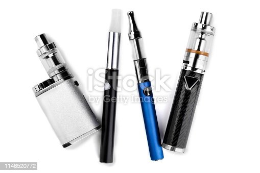 istock electronic cigarettes or vaping devices on white background 1146520772