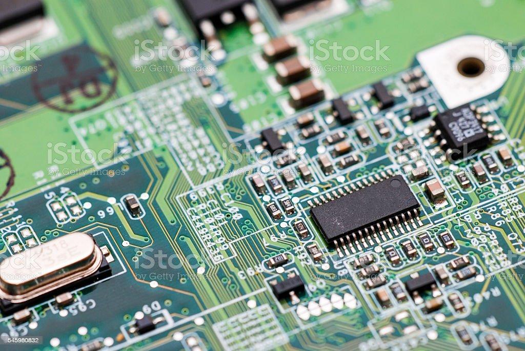 Electronic circuit abstract macro stock photo