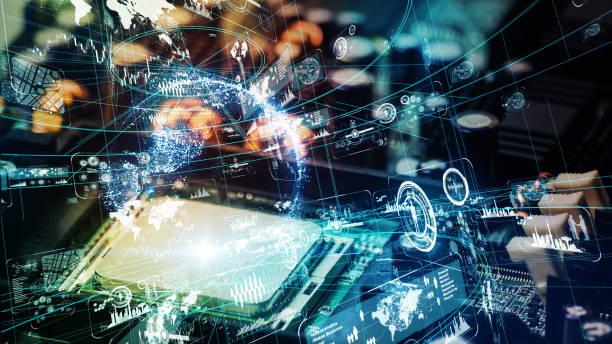 電子回路と未来的な技術コンセプト。 - 半導体 ストックフォトと画像