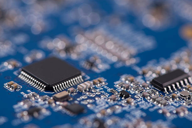 electronic circuit based on surface-mount technology (smt). - capacitor stock photos and pictures