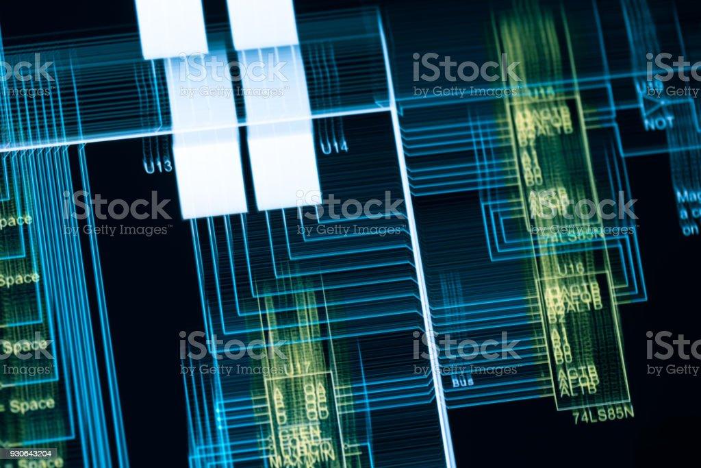 electronic circuit blue print multi exposure on screen stock photo