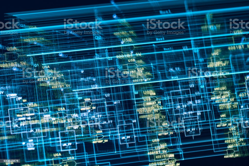 electronic circuit blue print multi exposure on screen stock photo