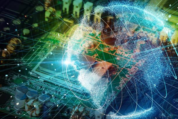電子回路基板・ グローバル ネットワークの概念。 - 半導体 ストックフォトと画像