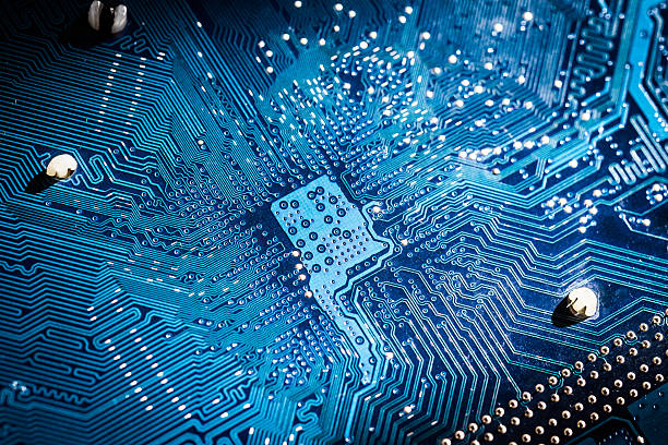 Electronic circuit board close up Electronic circuit board close up. blue PCB silicon stock pictures, royalty-free photos & images