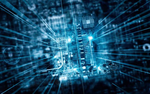 elektronikplatine futuristische server code verarbeitung und abstrakten computer hardware technologie mainboard, technologie-konzept - platine stock-fotos und bilder