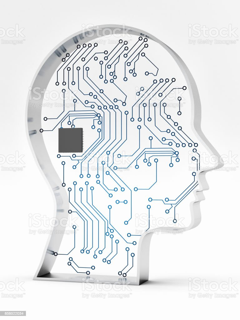 Electronic circuit board in head stock photo