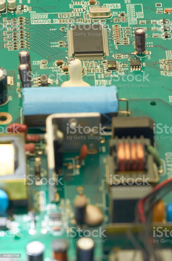 Electronic circuit board, PCB (Printed circuit board) with processor, microchips and glowing digital electronic signals stock photo