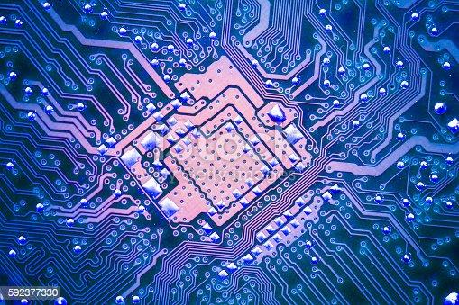 istock Electronic circuit board 592377330