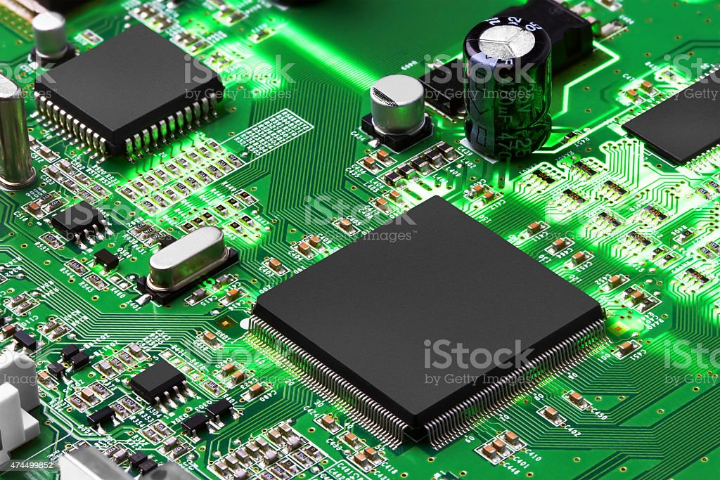 Electronic circuit board with processor stock photo