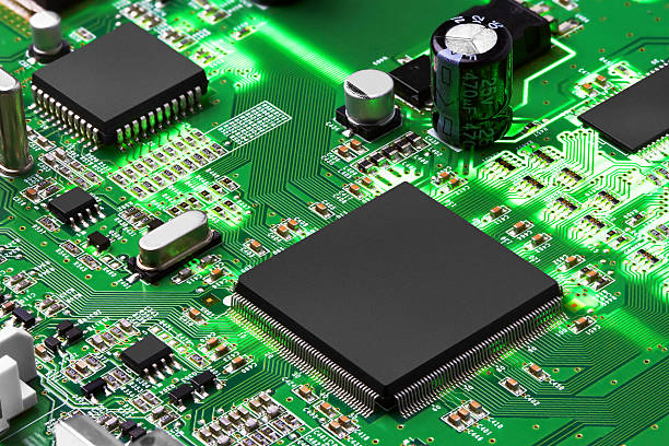 electronic circuit board with processor - mother board stock photos and pictures