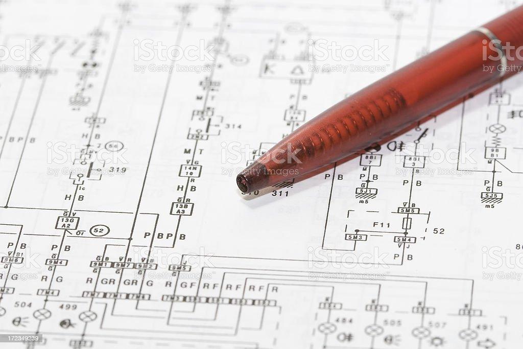 Electronic circuit diagram stock photo