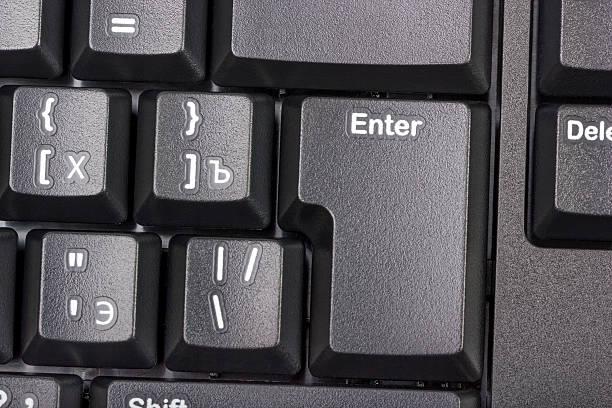 Electronic colección-Negro de teclado de ordenador con llave ingresar - foto de stock