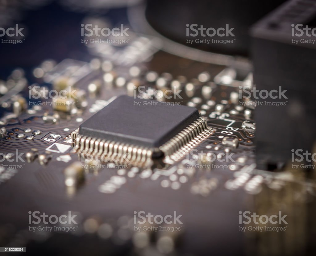Electronic collection - computer circuit board stock photo