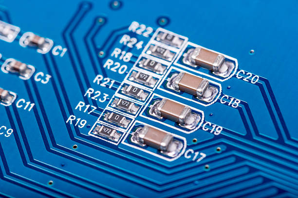 electronic collection - computer circuit board - capacitor stock photos and pictures