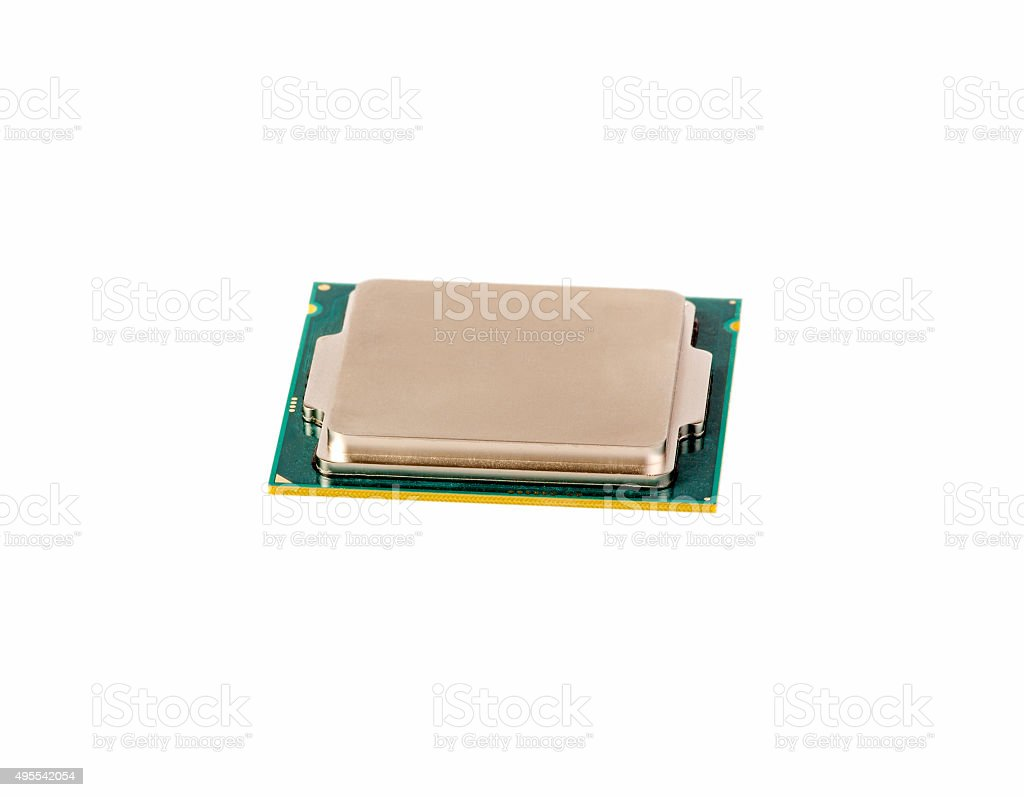 Electronic collection - Computer CPU Chip Isolated on white background stock photo