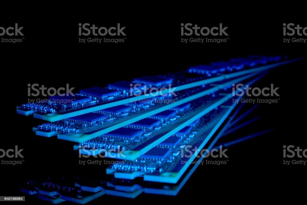 Electronic collection - computer random access memory (RAM) modules stock photo