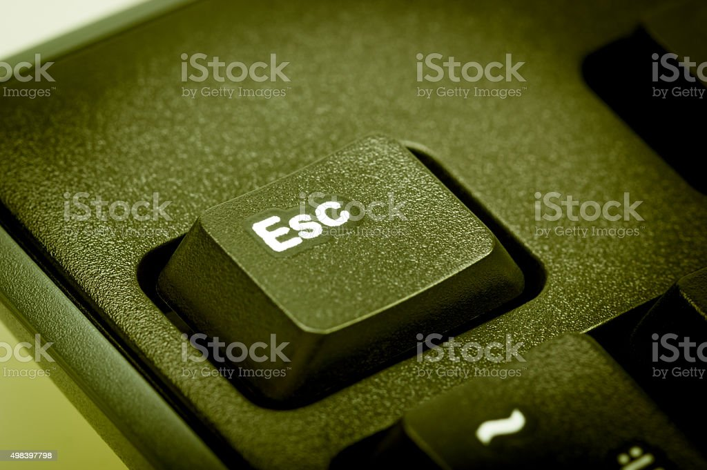 Electronic collection - detail computer keyboard focus  on Esc key stock photo