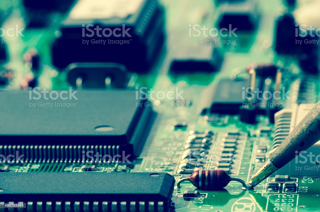 Electronic Component Welding On A Pcb Stock Photo - Download