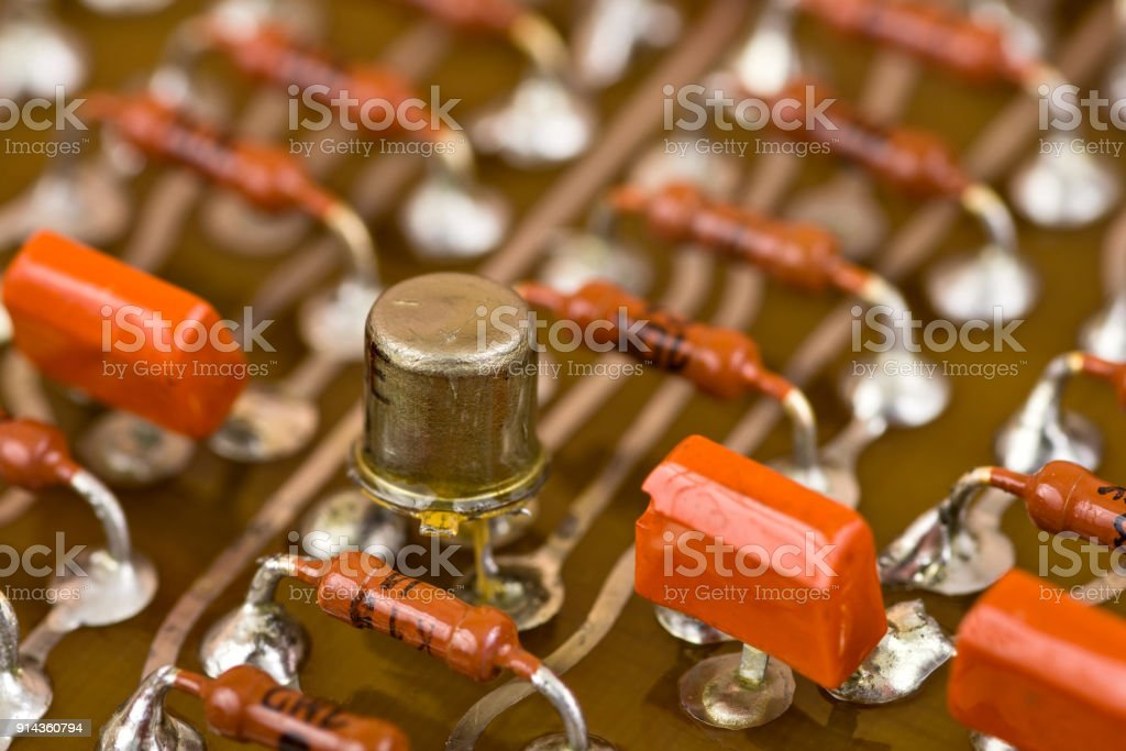 Electronic components on circuit board stock photo