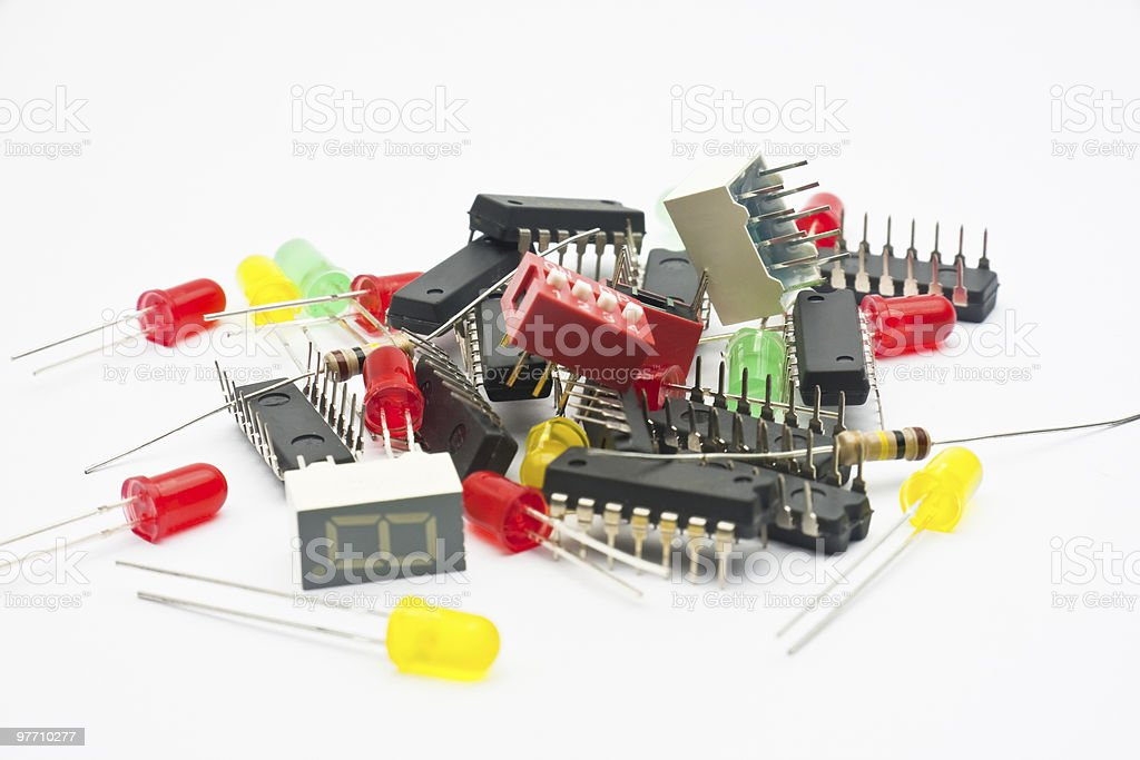 Electronic components on white royalty-free stock photo