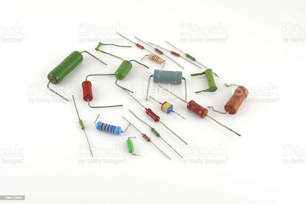 Electronic components - resistors stock photo