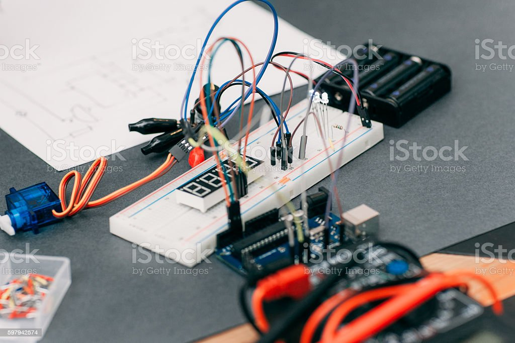 Electronic Construction With Wiring Diagram Stock Photo