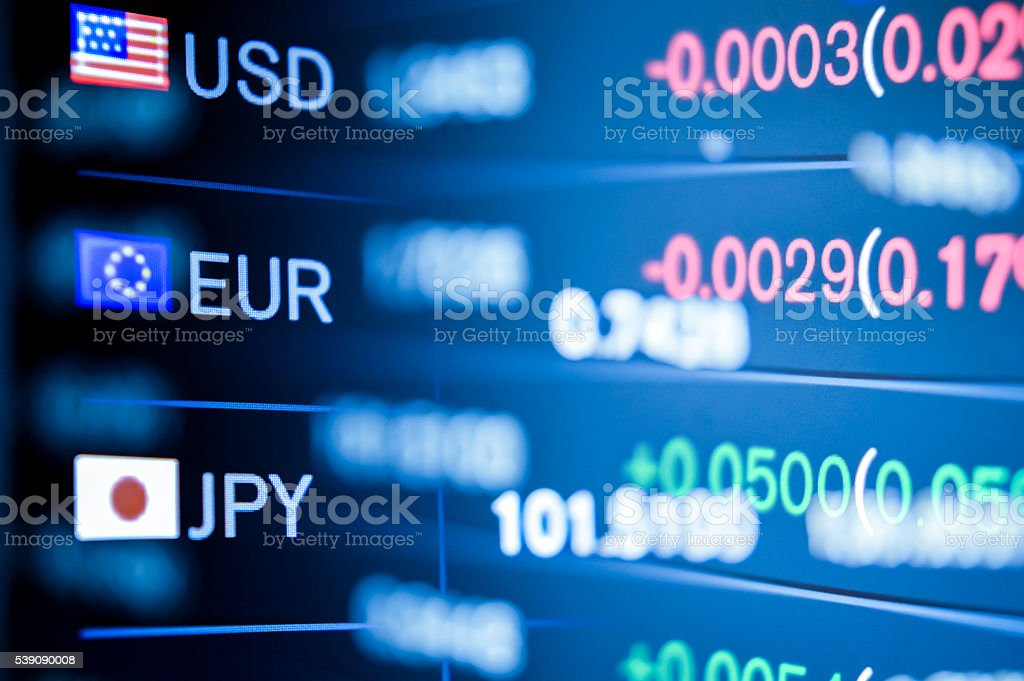 Electronic currency exchange notice board stock photo