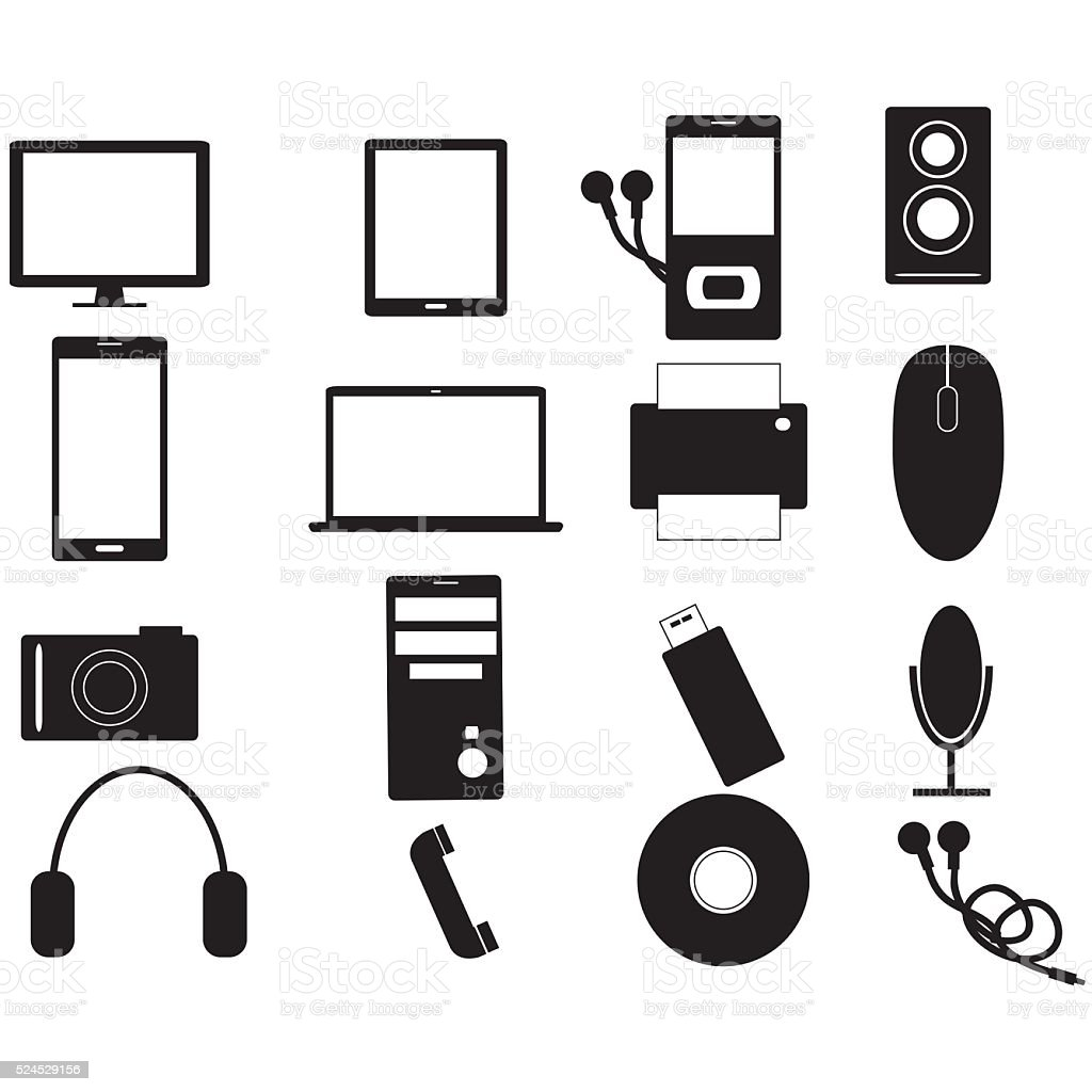 Electronic devices black icon set stock photo