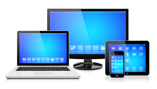 Computer monitor, laptop, tablet pc,  and mobile smartphone with a blue screen and apps. Isolated on a white. 3d image