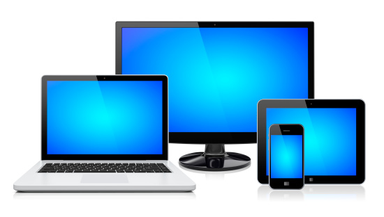 Computer monitor, laptop, tablet pc,  and mobile smartphone with a blue screen. Isolated on a white. 3d image .