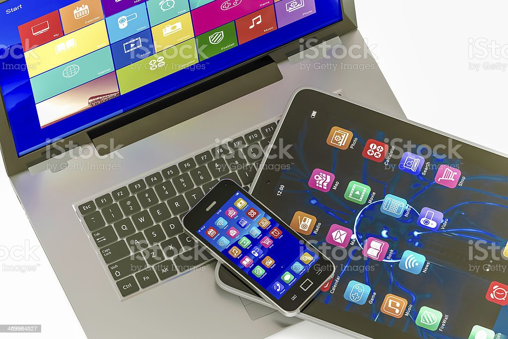 Electronic devices with colorfull icon stock photo